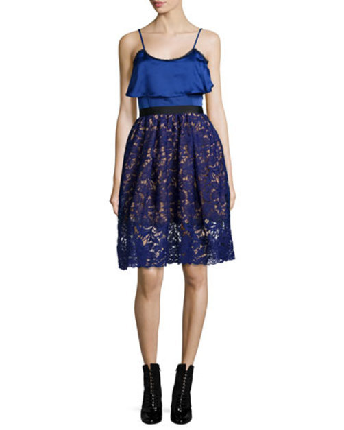 Sleeveless Delphinium Lace Combo Dress, Blue