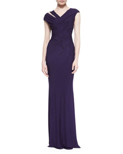 Woven Cutout Jersey Gown