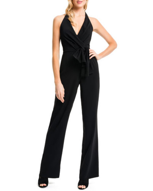 Jersey Halter Jumpsuit, Rich Black