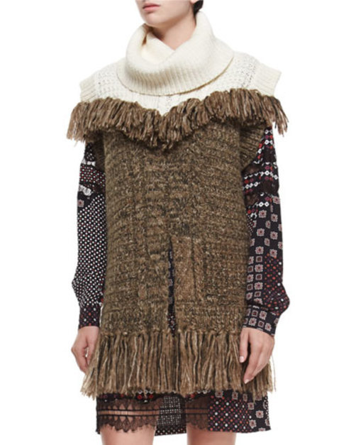 Sleeveless Fringe Tunic, Ivory/Brown