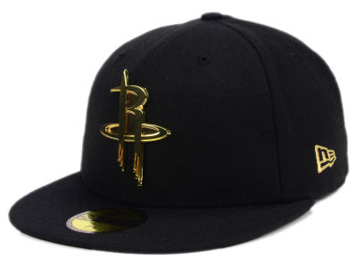 ニューエラ キャップ New Era Houston Rockets NBA Current O'Gold 59FIFTY Cap Black Metallic Gold ブラック Metallic Gold ベースボールキャップ 帽子 野球帽