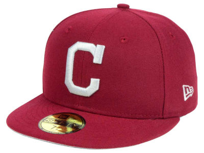 ニューエラ キャップ New Era Cleveland Indians MLB Cardnial Gray 59FIFTY Cap Cardinal Red Cardinal Red ベースボールキャップ 帽子 野球帽