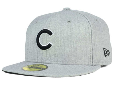 ニューエラ キャップ New Era Chicago Cubs MLB Heather Black White 59FIFTY Cap Heather Gray Heather Gray ベースボールキャップ 帽子 野球帽
