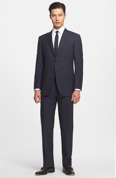 Canali Classic Fit Stripe Wool Suit 男性 メンズ スーツ
