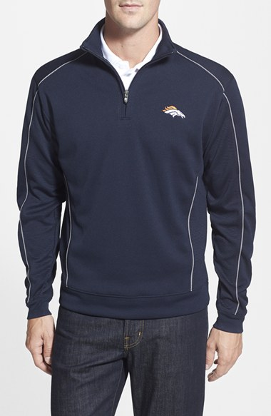Cutter & Buck 'Denver Broncos - Edge' DryTec Moisture Wicking Half Zip Pullover (Big & Tall) Tall 男性 メンズ セーター ニット