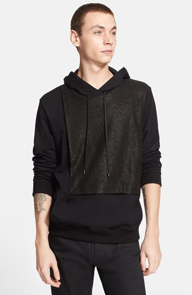 Public School French Terry Hoodie with Leather Overlay 男性 メンズ セーター ニット