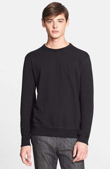Todd Snyder Crewneck Sweater with Leather Elbow Patches 男性 メンズ セーター ニット