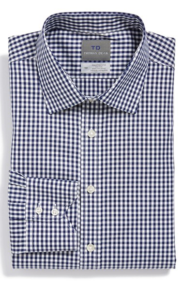 Thomas Dean Regular Fit Non-Iron Check Dress Shirt Regular 男性 メンズ シャツ