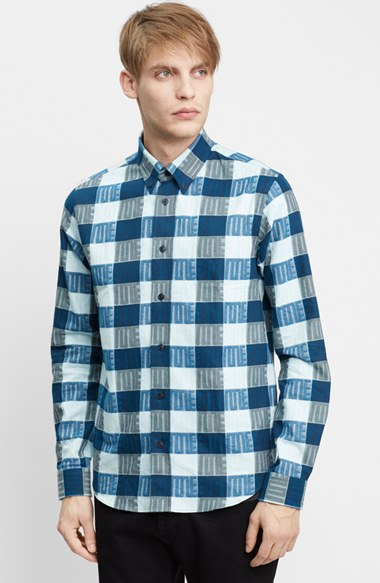 KENZO 'Love' Extra Trim Fit Flannel Sport Shirt 男性 メンズ シャツ