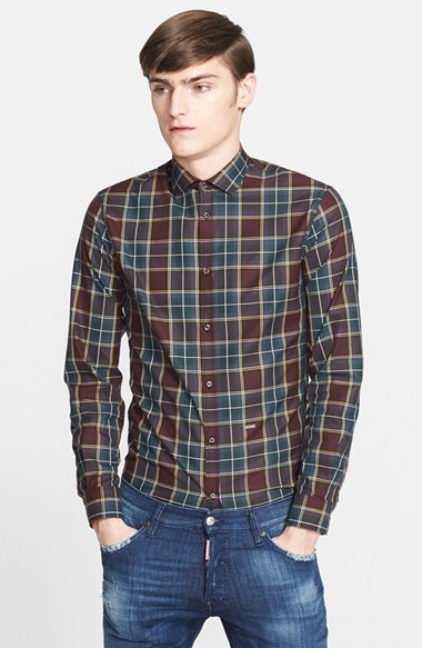 Dsquared2 Extra Slim Fit Plaid Sport Shirt 男性 メンズ シャツ
