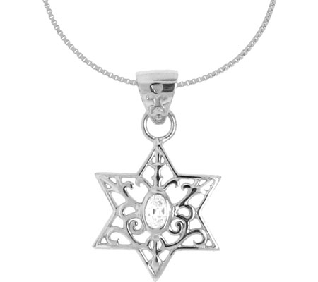 Moise Classic CZ Star Pendant Necklace 205592-18 - Silver Clear スカーフ