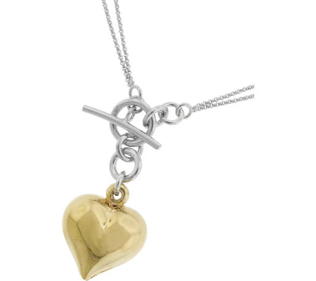 Moise Dual Chain with Puff Heart Pendant Necklace 402208 - Silver 14K Gold-Plated スカーフ