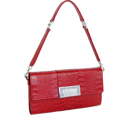Luis Steven Luisa Clutch with Crystal Logo C-4125 - Red Leather バッグ 鞄 かばん