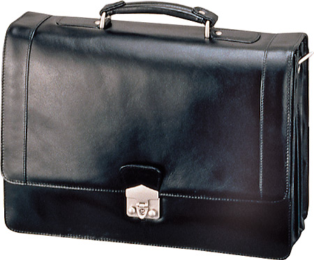 Stebco Nappa Leather Flapover Briefcase - Black バッグ 鞄 かばん ブリーフケース