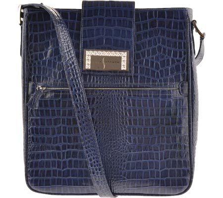 Luis Steven White Crystal Laptop Bag S0630 - Blue Leather バッグ 鞄 かばん