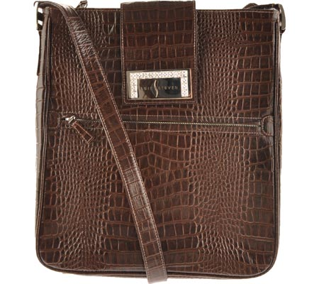 Luis Steven White Crystal Laptop Bag S0630 - Brown Leather バッグ 鞄 かばん