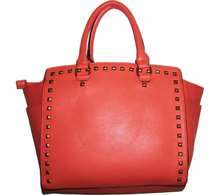 Blingalicious Leatherette Handbag with Studs Q2026 - Coral バッグ 鞄 かばん ハンドバッグ