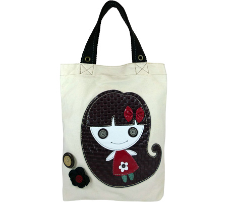 Chala Smiley Girl Simple Tote - White White バッグ 鞄 かばん ハンドバッグ