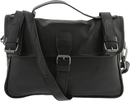 SHARO Genuine Leather Bags Cross Body Bag with Bike Straps - Black バッグ 鞄 かばん ハンドバッグ