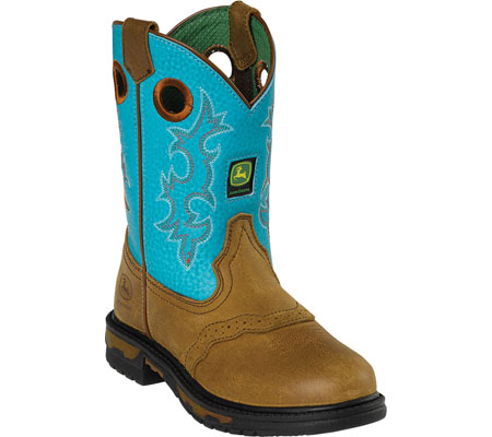 ジョンディアブーツ John Deere Boots Saddle Vamp Pull On 2168 - Brown Crazy Horse Turquoise Leather 子供 キッズ シューズ 靴