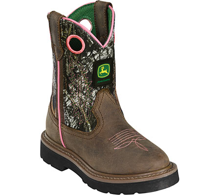 ジョンディアブーツ John Deere Boots Classic Pull-On 3198 - Dark Brown Leather Mossy Oak 子供 キッズ シューズ 靴