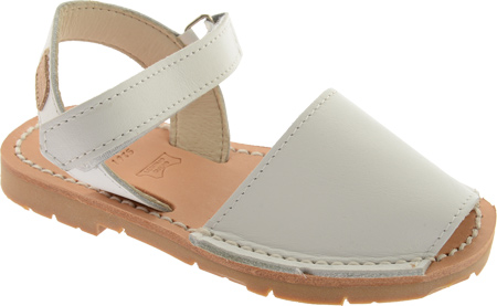 Castell Flat Ankle Strap - White Leather 子供 キッズ シューズ 靴