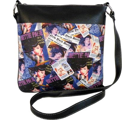 Bettie Page Signature Product Collage Messenger Bag BPG1081 - Black バッグ 鞄 かばん