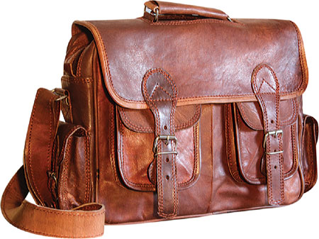 SHARO Genuine Leather Bags Four Pocket Satchel - Brown バッグ 鞄 かばん メッセンジャーバッグ
