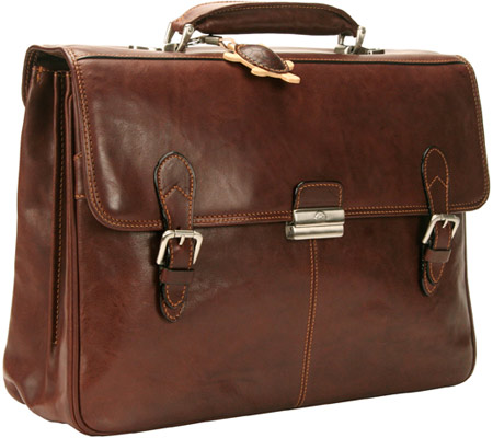 トニー ペロッティ Tony Perotti Classic European Double Compartment Briefcase - Brown バッグ 鞄 かばん