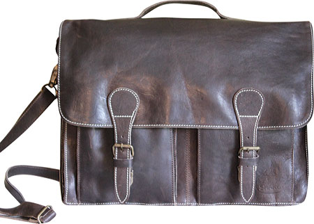 SHARO Genuine Leather Bags Computer Messenger Brief Bag - Dark Brown バッグ 鞄 かばん