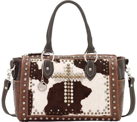 American West Home on the Range Satchel - Chestnut Brown Chocolate Brown Pony Hair バッグ 鞄 かばん ハンドバッグ