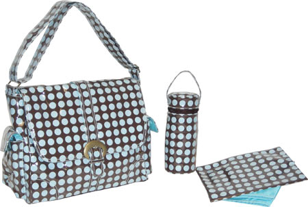 Kalencom Laminated Buckle Bag - Heavenly Dots Chocolate Blue バッグ 鞄 かばん ハンドバッグ