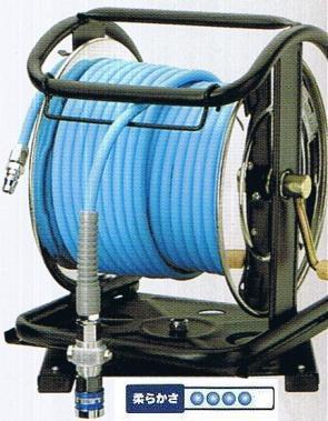 フジマックマッハスムージーホースドラム常圧用1.5Mpa長さ30mNDSBG-730TCスチール製:回転台付ストッパーダスターソケット付  エアーホースドラム内径7mm×外径10.0mm