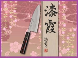 みきかじや村包丁・漆霞『花びら』青紙積層鋼出刃包丁 5.5寸