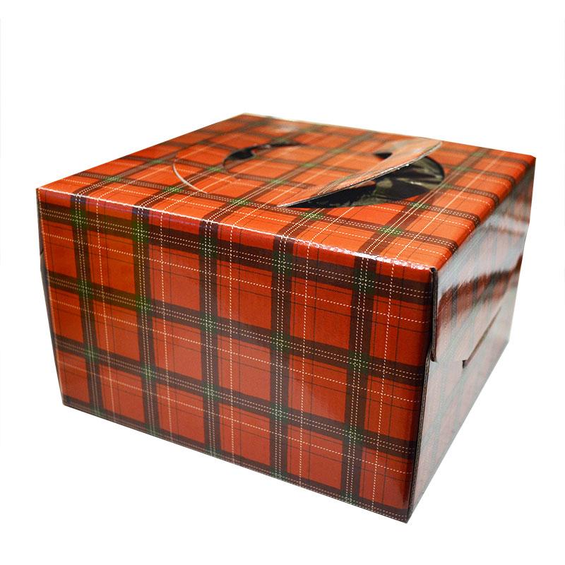 【ケーキ箱】キャリーデコ 5寸 カラーチェック赤