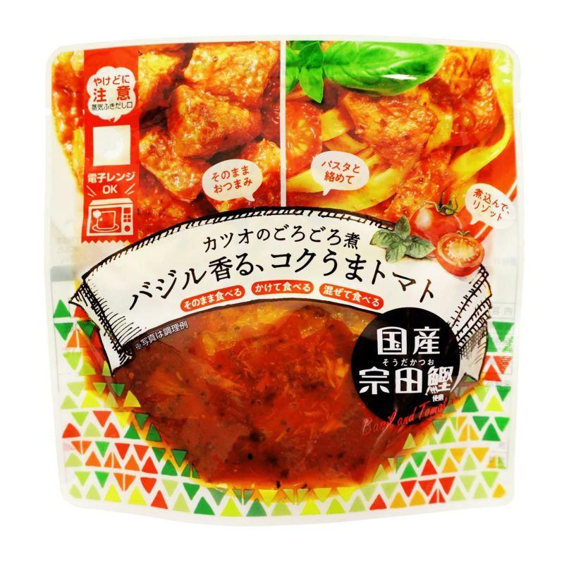 高知県産品 国産宗田鰹 カツオのごろごろ煮 贈呈 バジル香る コクうまトマト 人気ブランド 100g