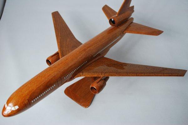 手作り木製模型 飛行機 ダグラス DC10 大 PLA-029 *模型*