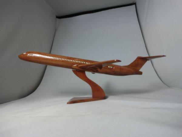 手作り木製模型 飛行機 ダグラス MD81 大 PLA-033 *模型*
