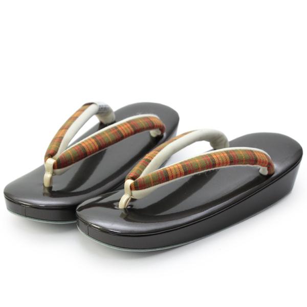 【草履 Lサイズ ブラウン土台・グリーン×オレンジ系チェック柄鼻緒】着物 日本製 カジュアル ぞうり 女性 通販 kimono Japanese sandals KZ
