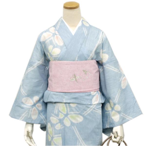 お仕立て上り浴衣 綿麻 水色地蝶々 京 帽子絞り 仕立て上りだから届いたらすぐ着れる 《ktウク》