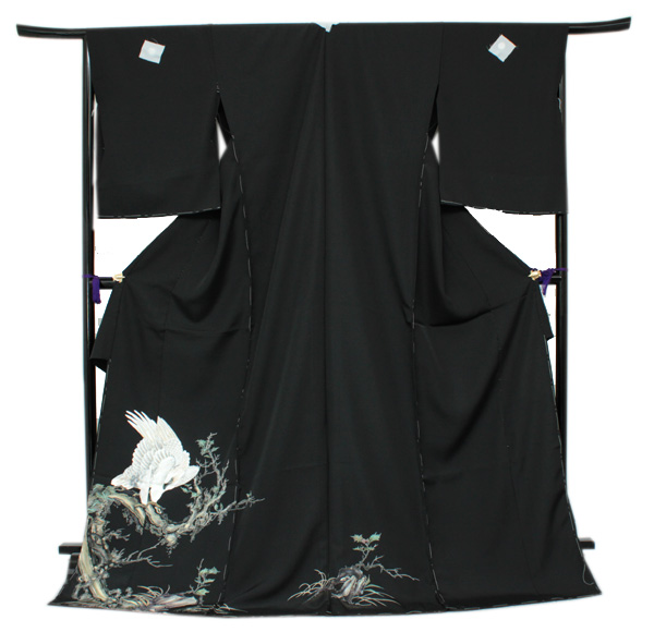 正絹黒留袖 未仕立て 仮絵羽 鷹柄 礼装 黒留め袖 新品 お誂え 購入 販売 結婚式 既婚 五つ紋 家紋 フォーマル hz