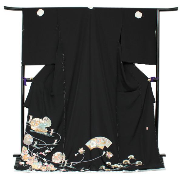 正絹黒留袖 未仕立て 仮絵羽 宝船と梅柄 礼装 黒留め袖 新品 お誂え 購入 販売 結婚式 既婚 五つ紋 家紋 フォーマル hz