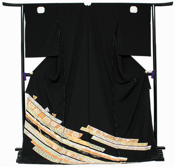 【正絹黒留袖 未仕立て 仮絵羽 鬘帯と萩柄】礼装 黒留め袖 新品 お誂え 購入 販売 結婚式 既婚 五つ紋 家紋 フォーマル 【hzふら】