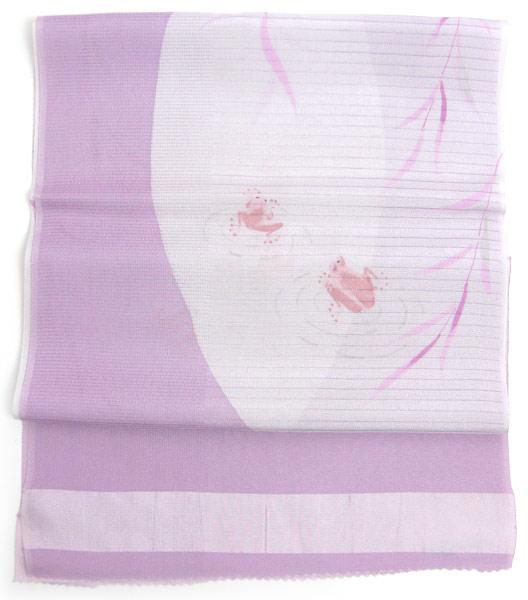 帯揚げ 夏 絽 正絹 和装小物 おびあげ 紫地カエルに柳柄