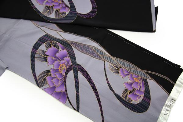 振袖 成人式 着物 正絹 中振袖 卒業式 シルク 絹 フォーマル 結婚式 礼装 未仕立て正絹中振袖 濃紺・薄紫染め分け地に粋な丸紋に牡丹
