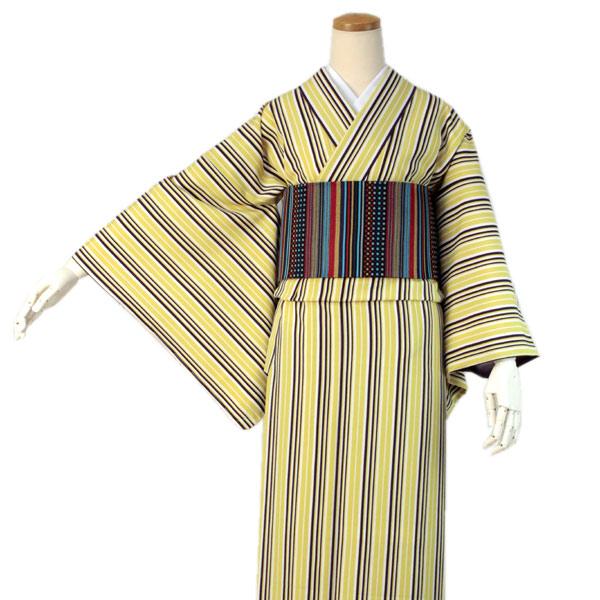 洗える着物 袷 袷着物 仕立上り 単品 Mサイズ 創世舎 黄色紫コンビ縞 袷 女性 レディース 小紋 通販 仕立て上がり プレタ着物 こもん スリーシーズン kimono 送料無料 セール対象外