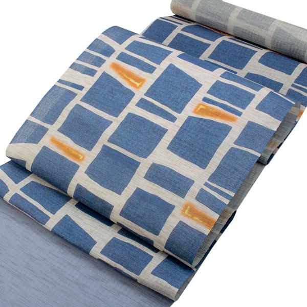 本麻夏の名古屋帯 渋ブルー地石畳柄 仕立て付 夏着物用 京友禅 送料無料 《urフラ》