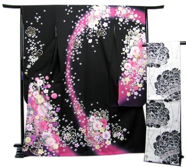 送料無料 振袖 セット正絹 着物と袋帯の2点セット 黒地小花と蝶の着物と白地牡丹の帯