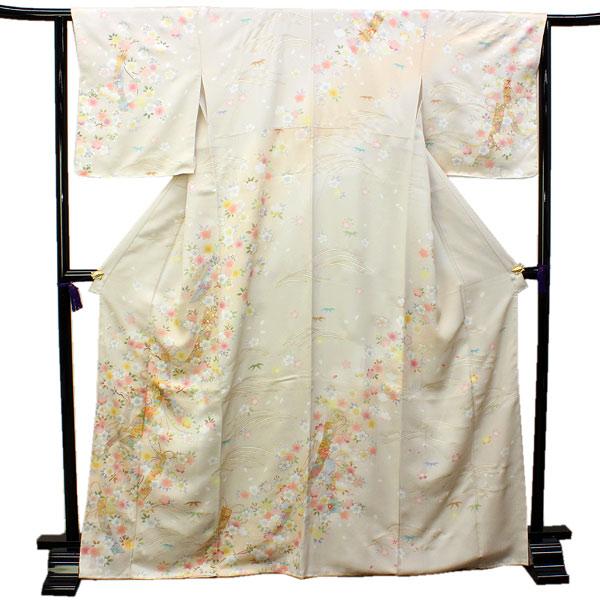 訪問着 仕立て上がり 正絹 フリー サイズ ベージュ地桜と花短冊 正絹訪問着 結婚式 七五三 など フォーマル 礼装 和装 和服 着物 女性用 レディースファッション きもの 送料無料 urニフ