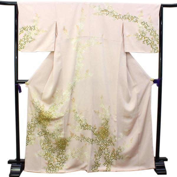 訪問着 仕立て上がり 正絹 フリー サイズ 薄ピンク地萩 正絹訪問着 結婚式 七五三 など フォーマル 礼装 和装 和服 着物 女性用 レディースファッション きもの 送料無料 urニフ
